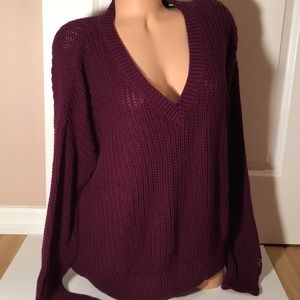Pink V neck sweater size Large NWT